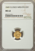 Gold Dollars, 1849 G$1 Closed Wreath MS62 NGC. NGC Census: (116/180). PCGS Population: (56/147). CDN: $750 Whsle. Bid for problem-free NG...