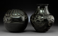 American Indian Art:Pottery, Two Santa Clara Carved Blackware Jars. Trisha Velarde and SharonNaranjo Garcia ... (Total: 2 Items)