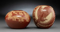 American Indian Art:Pottery, Two Santa Clara Etched Redware Jars . Wallace Youvella and GoldenRod ... (Total: 2 Items)