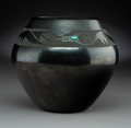 American Indian Art:Pottery, A San Ildefonso Blackware Jar Inset with Turquoise . Tse-Pe andDora Gonzales...