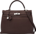 "Luxury Accessories:Bags, Hermès 35cm Cafe Clemence Leather Birkin Bag with Palladium Hardware. K Square, 2007. Condition: 3. 14"" Width x 10..."