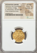 Ancients:Byzantine, Ancients: Heraclius (AD 610-641), with Heraclius Constantine andHeraclonas. AV solidus (4.38 gm). NGC Choice AU 4/5 - 4/5,clipped...
