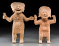 Pre-Columbian:Ceramics, Two Remojadas Veracruz Standing Figures, Sonriente Type...(Total: 2 Items)
