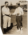 Baseball Collectibles:Photos, 1920's Lou Gehrig & Jock Hutchison Original News Photograph, PSA/DNA Type 1 from The Lou Gehrig Collection....