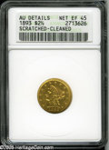 Liberty Quarter Eagles: , 1893 $2 1/2 XF45 ANACS. Scratched-Cleaned; AU DETAILS....