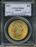Liberty Double Eagles: , 1907 $20 MS64 PCGS. ...