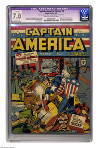 Captain America Comics #1 (Timely, 1941) CGC FN/VF 7.0 Extensive (P) Cream to off-white pages. Captain America is one of...