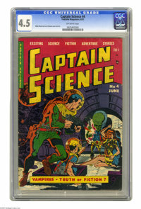 Captain Science #4 (Youthful Magazines, 1951) CGC VG+ 4.5 Off-white pages. Wally Wood and Joe Orlando cover and art. Ove...