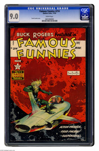 Famous Funnies #214 (Eastern Color, 1954) CGC VF/NM 9.0 Cream pages. Frank Frazetta cover. Overstreet 2005 VF/NM 9.0 val...