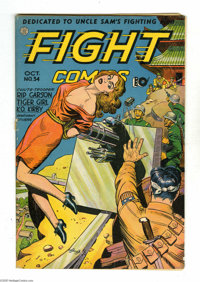 Fight Comics #34 (Fiction House, 1944) Condition: VG-. Artists include George Tuska. Cover is detached. Overstreet 2005...