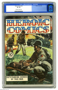 Heroic Comics #23 (Eastern Color, 1944) CGC VF 8.0 Off-white to white pages. Overstreet 2005 VF 8.0 value = $98. CGC cen...