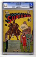 Golden Age (1938-1955):Superhero, Superman #16 (DC, 1942) CGC GD/VG 3.0 Cream to off-white pages. This is the first time Lois Lane appeared on the cover in th...