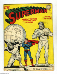 Superman #28 (DC, 1944) Condition: VG. Atlas shrugged, Hercules mugged, and Superman flexed on this cover by Wayne Borin...
