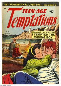 Teen-Age Temptations #9 (St. John, 1954) Condition: VG/FN. Matt Baker cover and art. Overstreet 2005 VG 4.0 value = $50;...