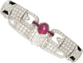 Estate Jewelry:Bracelets, Diamond, Ruby, Black Onyx, White Gold Bracelet. ...