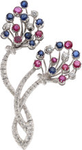 Estate Jewelry:Brooches - Pins, Diamond, Ruby, Sapphire, White Gold Brooch, Lotos. ...