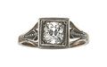 Estate Jewelry:Rings, Diamond, Silver-Topped Gold Ring, Polish. ...
