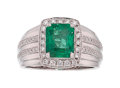 Estate Jewelry:Rings, Gentleman's Emerald, Diamond, White Gold Ring . ...
