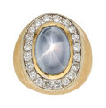 Estate Jewelry:Rings, Gentleman's Star Sapphire, Diamond, Gold Ring . ...