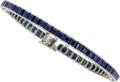 Estate Jewelry:Bracelets, Art Deco Sapphire, Platinum Bracelet. ...