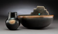 American Indian Art:Pottery, Two San Ildefonso Blackware Vessels. Russell Sanchez... (Total: 2Items)