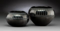 American Indian Art:Pottery, Two San Ildefonso Blackware Jars . Maria and Santana Martinez...(Total: 2 Items)