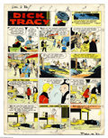 Original Comic Art:Miscellaneous, Chester Gould - Dick Tracy Sunday Color Guide, dated 12-2-56 (TheChicago Tribune, 1956). Dick Tracy takes his men to the ca...
