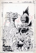 Original Comic Art:Covers, Tod Smith and Mike DeCarlo - Omega Men #14 Cover Original Art (DC,1984). Primus and Tigorr find themselves stranded on a ho...
