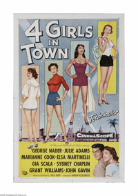 "4 Girls in Town (Universal International, 1957) One Sheet (27"" X 41""). This is a vintage, theater used poster..."
