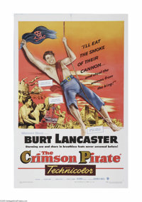 """The Crimson Pirate (Warner Brothers, 1952). One Sheet (27"""" X 41""""). This is a vintage, theater used poster for..."""