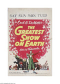 """Movie Posters:Drama, The Greatest Show On Earth (Paramount, 1952) Window Card (14"""" X 22""""). This is a vintage, theater used poster for this romant..."""