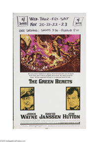 """The Green Berets (Warner Brothers, 1968) Window Card (14"""" X 22""""). This is a vintage, theater used poster for t..."""