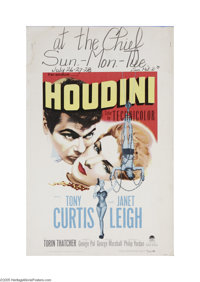 "Houdini (Paramount, 1953) Window Card (14"" X 22""). This is a vintage, theater used poster for this biographica..."