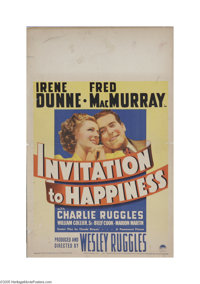 "Invitation to Happiness (Paramount, 1939) Window Card (14"" X 22""). This is a vintage, theater used poster for..."
