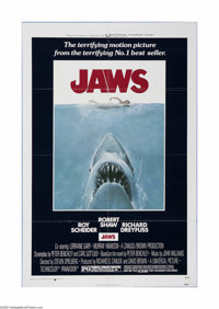 "Jaws (Universal, 1975). One Sheet (27"" X 41""). This is a vintage, theater used poster for this adventure/horro..."