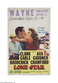 """Lone Star (M.J. Winkler, 1952) Window Card (14"""" X 22""""). This is a vintage, theater used poster for this wester..."""