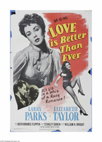 """Love Is Better Than Ever (MGM, 1952). One Sheet (27"""" X 41""""). This is a vintage, theater used poster for this r..."""