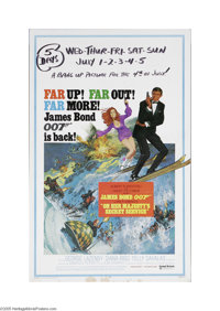 "On Her Majesty's Secret Service (United Artists, 1969) Window Card (14"" X 22""). This is a vintage, theater use..."