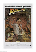 "Movie Posters:Adventure, Raiders of the Lost Ark (Paramount, R-1982) One Sheet (27"" X 41"").This is a vintage, theater used poster for this adventure..."