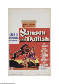 """Samson and Delilah (Paramount, 1949) Window Card (14"""" X 22""""). This is a vintage, theater used poster for this..."""