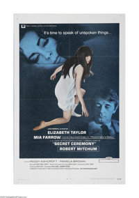 """Secret Ceremony (Universal, 1968) One Sheet (27"""" X 41""""). This is a vintage, theater used poster for this psych..."""
