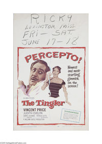 """The Tingler (Columbia, 1959) Window Card (14"""" X 22""""). This is a vintage, theater used poster for this horror c..."""