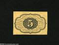 Fractional Currency:First Issue, Fr. 1231SP 5c Narrow Margin Back First Issue Specimen Very Choice New. This specimen was probably cut down from a Wide Margi...