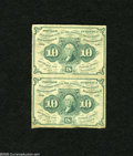 Fractional Currency:First Issue, Fr. 1242 10c First Issue Vertical Pair Fine. This Ten Cents Vertical Pair circulated as a piece of Twenty Cents Fractional C...