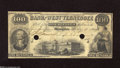 Obsoletes By State:Tennessee, Memphis, TN- Bank of West Tennessee $100 Jan. 1, 1859 This is only the third time we have been able to offer this design on...