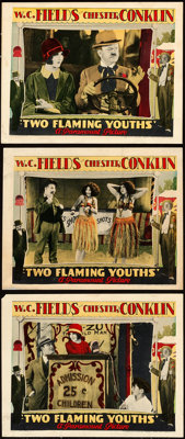 "Two Flaming Youths (Paramount, 1927). Lobby Cards (3) (11"" X 14""). From the Collection of Frank Buxton, of whi..."