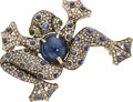 Estate Jewelry:Brooches - Pins, Diamond, Sapphire, Emerald, Silver-Topped Gold Brooch. ...
