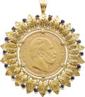 Estate Jewelry:Brooches - Pins, 20 Deutsche Mark Gold Coin, Sapphire, Gold Pendant-Brooch. ...