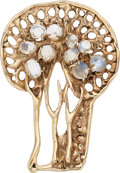 Estate Jewelry:Brooches - Pins, Moonstone, Gold Brooch, Walker, circa 1967. ...