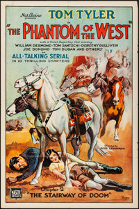 """The Phantom of the West (Mascot, 1931). One Sheet (27"""" X 41"""") Chapter 2 -- """"The Stairway of Doom."""" S..."""